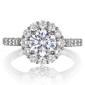 Henri Daussi BNV Round Halo Diamond Engagement Ring