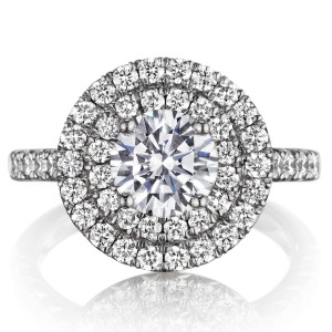 Henri Daussi BQ Round Double Halo Diamond Engagement Ring