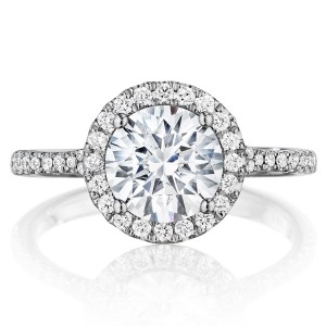 Henri Daussi BSP Round Halo Diamond Engagement Ring