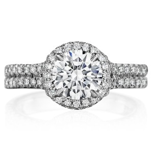 Henri Daussi BSPD Round Halo Spilt Shank Diamond Engagement Ring
