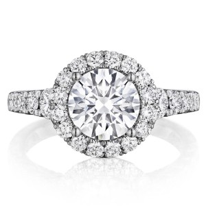 Henri Daussi BV Round Halo Graduated Accent Diamonds Engagement Ring