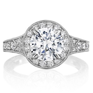 Henri Daussi BZP Antique Round Halo Diamond Engagement Ring