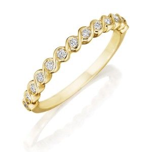 Henri Daussi R41-3 Yellow Gold Twisted Band with Unique Bezel Set Diamonds