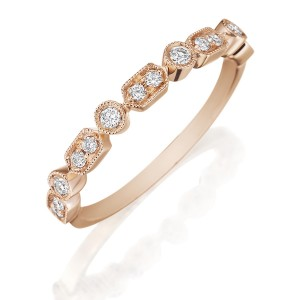 Henri Daussi R43-2 Rose Gold Bead and Bezel Set Diamond Band with Miligrain Detail