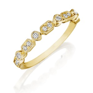 Henri Daussi R43-3 Yellow Gold Bead and Bezel Set Diamond Band with Miligrain Detail