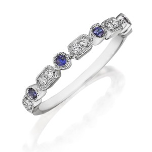 Henri Daussi R43-6 Bead and Bezel Set Diamond and Sapphire Band with Miligrain Detail