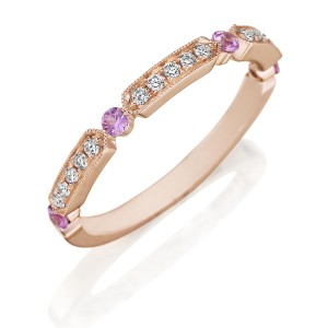 Henri Daussi R44-7 Rose Gold Bead Set Diamond and Pink Sapphire Band with Miligrain Detail