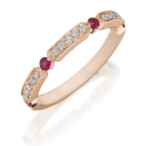 Henri Daussi R44-8 Rose Gold Bead Set Diamond and Ruby Band with Miligrain Detail