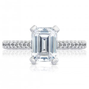 HT2546EC8X6 Platinum Tacori Petite Crescent Engagement Ring