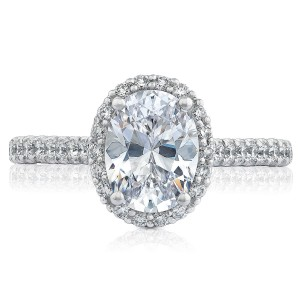 HT2547OV85X65 Platinum Tacori Petite Crescent Engagement Ring