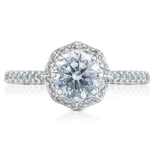 HT2555RD65 Platinum Tacori Petite Crescent Engagement Ring