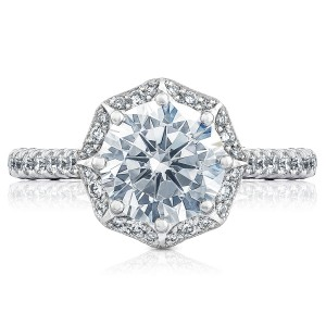 HT2555RD8 Platinum Tacori Petite Crescent Engagement Ring