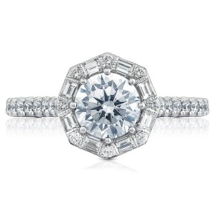 HT2556RD65 Platinum Tacori Petite Crescent Engagement Ring