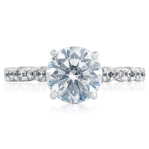HT2558RD8 Platinum Tacori Petite Crescent Engagement Ring