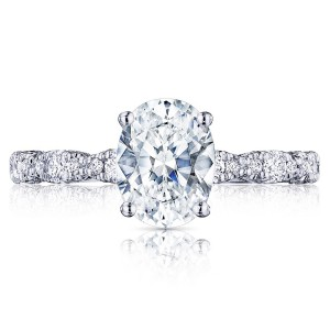 HT2559OV85X65 Platinum Tacori Petite Crescent Engagement Ring