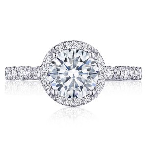 HT2560RD75 Platinum Tacori Petite Crescent Engagement Ring