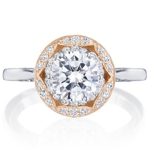 Tacori HT2569RD7PK 18 Karat Two-Tone Crescent Chandelier Engagement Ring