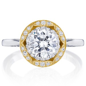 Tacori HT2569RD7Y 18 Karat Two-Tone Crescent Chandelier Engagement Ring