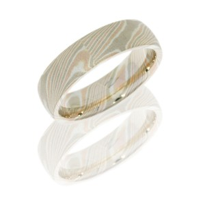 Lashbrook M6D14R14PWSS BEADBLAST Mokume Gane Wedding Ring or Band