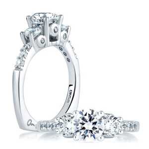 A Jaffe 14 Karat Three-Stone Engagement Ring MES127