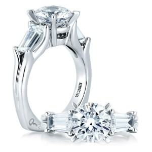 A Jaffe 14 Karat Three-Stone Engagement Ring MES263