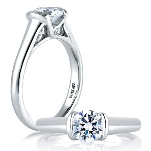 A Jaffe Platinum Classic Engagement Ring ME1565