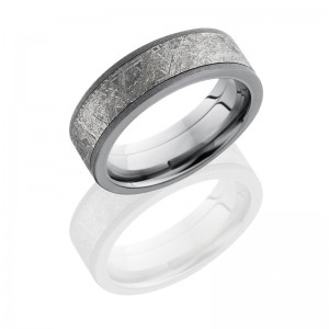 Lashbrook 7F15-METEORITE SANDBLAST Meteorite Wedding Ring or Band