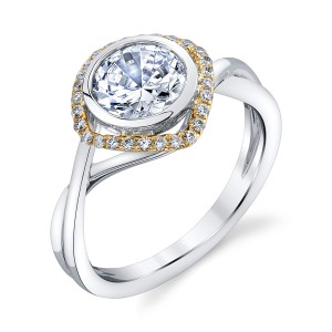 Parade Hemera Bridal R2595 Platinum Two-Tone Diamond Engagement Ring