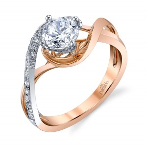 Parade Hemera Bridal R3152B Platinum Two-Tone Diamond Engagement Ring