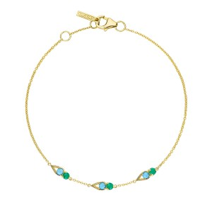 SB2314849FY Tacori Petite Open Crescent Bracelet with Turquoise and Green Onyx