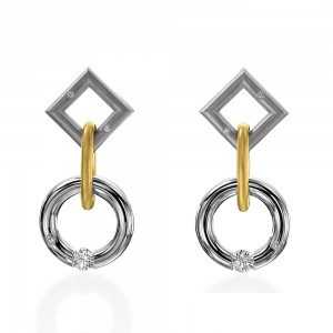 Kretchmer Platinum/18K Gold Short Jazz Tension Set Earrings