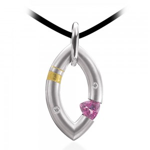 Kretchmer Platinum w/24K Inlay Sweet Mango Tension Set Pendant