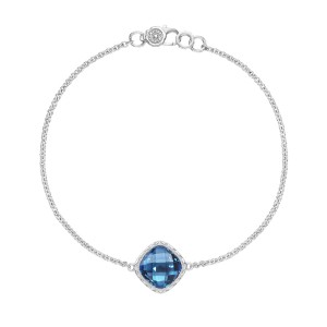 SB22333 Tacori Solitaire Cushion Gem Bracelet with London Blue Topaz