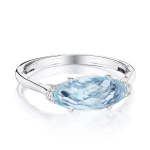 Tacori SR22302 Solitaire Oval Gem Ring with Sky Blue Topaz