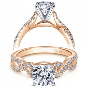 Taryn 14k Rose/White Gold Round Twisted Engagement Ring TE7805T44JJ