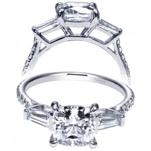 Taryn 14k White Gold Cushion Cut 3 Stones Engagement Ring TE9192W44JJ
