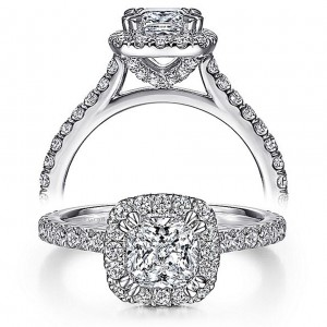 Taryn 14k White Gold Cushion Cut Diamond Engagement Ring TE7259C4W44JJ