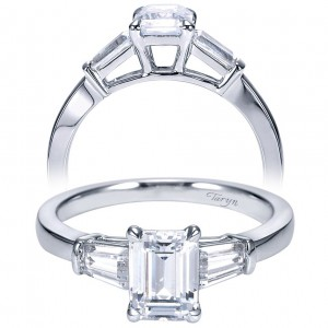 Taryn 14k White Gold Emerald Cut 3 Stones Engagement Ring TE7791W43JJ