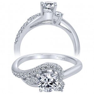 Taryn 14k White Gold Free Form Round Engagement Ring TE910072W44JJ