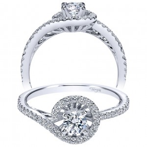 Taryn 14k White Gold Free Form Round Engagement Ring TE97718W44JJ