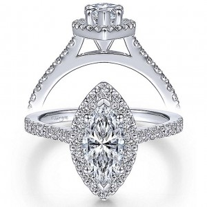 Taryn 14k White Gold Marquise Halo Engagement Ring TE6419M4W44JJ