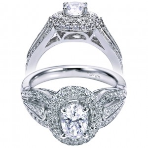 Taryn 14k White Gold Oval Double Halo Engagement Ring TE6279W44JJ
