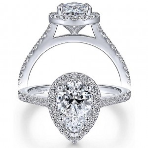 Taryn 14k White Gold Pear Shape Halo Engagement Ring TE6419P4W44JJ
