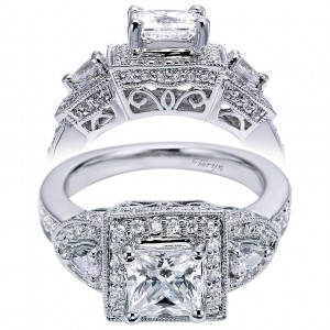 Taryn 14k White Gold Princess Cut 3 Stone Halo Engagement Ring TE5755W44JJ