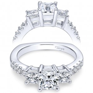 Taryn 14k White Gold Princess Cut 3 Stones Engagement Ring TE6021W44JJ
