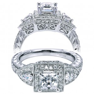 Taryn 14k White Gold Princess Cut 3 Stones Halo Engagement Ring TE5754W44JJ