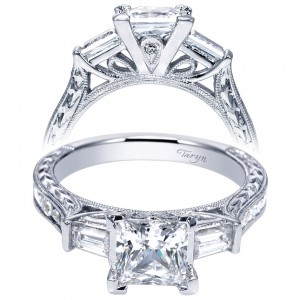 Taryn 14k White Gold Princess Cut 3 Stones Halo Engagement Ring TE8799W44JJ