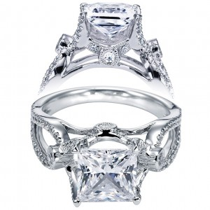 Taryn 14k White Gold Princess Cut Free Form Engagement Ring TE5379W44JJ