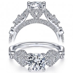 Taryn 14K White Gold Round 3 Stone Diamond Engagement Ring TE15198R4W44JJ