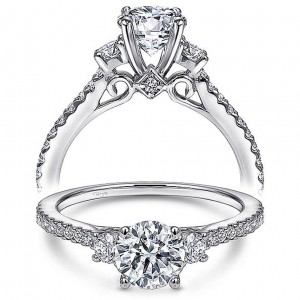 Taryn 14k White Gold Round 3 Stone Engagement Ring TE10693W44JJ